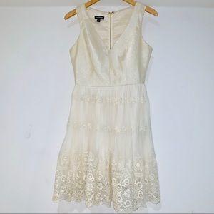Bebe gorgeous cream gold lace vneck dress